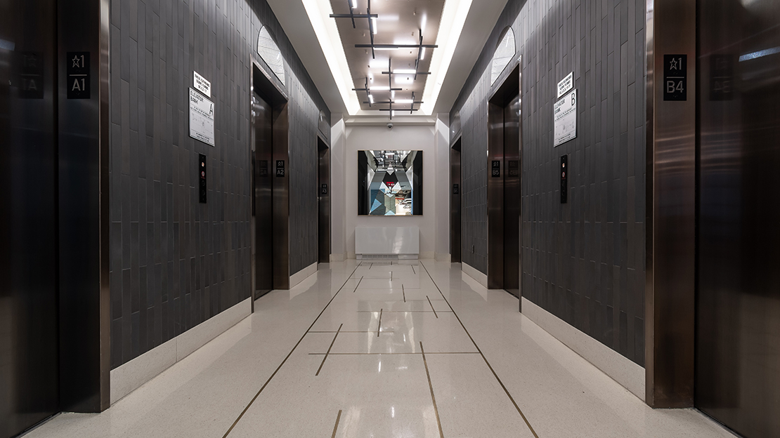 606 w 57th st the max lobby elevator bank